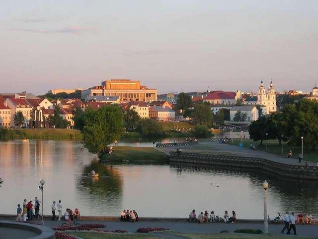 Вид на Верхний город и Свислочь