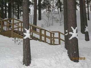 По таким дерявенным лестницам можно спуститься к Сайме.