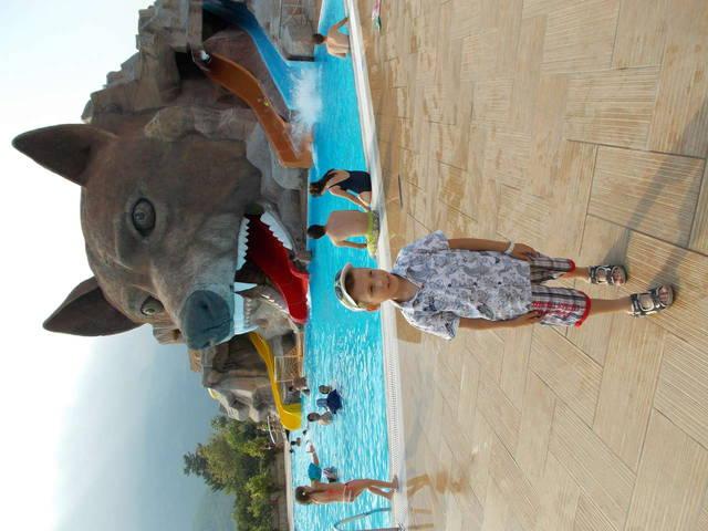 второй бассейн с аквапарком -голова волка-очень нравится взрослым и детям!